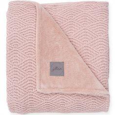Couverture en tricot rose pâle (75 x 100 cm)