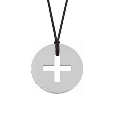Collier cordon médaille Signes Croix Latine 16 mm (or blanc 750°) Maison La Couronne
