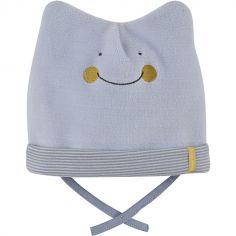 Bonnet de naissance Petit Yeti ciel (0-1 mois)
