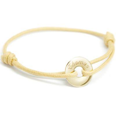 Bracelet cordon Mini jeton (or jaune 375°)  par Petits trésors