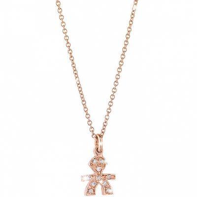 Collier sur chaîne Briciole symbole garçon (or rose 750° et pavé de diamants)  par leBebé