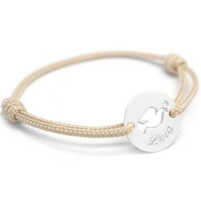 Bracelet  cordon enfant Mini jeton colombe (argent 925°)  par Petits trésors