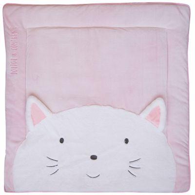 Tapis de jeu Tapidou chat rose (100 x 100 cm) Doudou et Compagnie