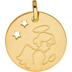 Médaille ronde Ange auréolé étoile ajourée (or jaune 375°)