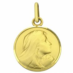 Médaille ronde Vierge priante 16 mm bord brillant (or jaune 750°)