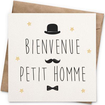 Carte Bienvenue petit homme (13 x 13 cm)  par La Poupette à paillettes