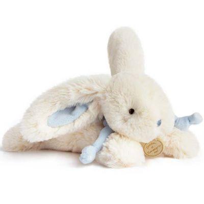 Coffret peluche lapin bleu Bonbon (25 cm)  par Doudou et Compagnie