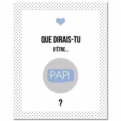 Carte à gratter Annonce de grossesse Version Encadrée Papi   par Les Boudeurs