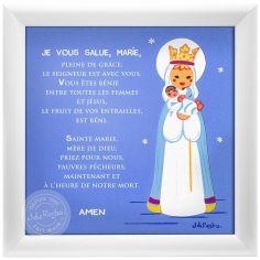 Tableau religieux Prière je vous salue Marie bleu (15 x 15 cm)