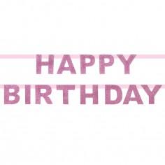 Guirlande en papier Happy Birthday paillettes roses
