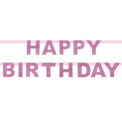 Guirlande en papier Happy Birthday paillettes roses My Little Day