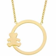 Collier chaîne et pendentif ourson cercle 45 cm (or jaune 375°)