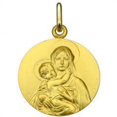 Médaille ronde Vierge à l'enfant face 18 mm (or jaune 750°)