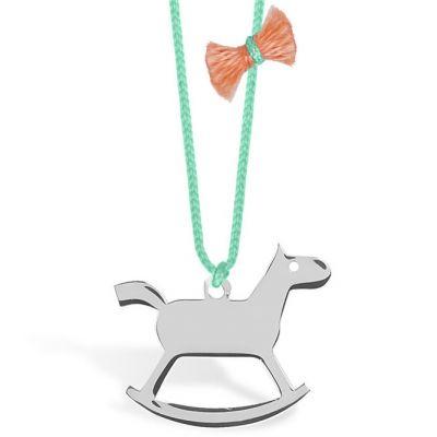 Collier cordon vert turquoise pendentif Mini Coquine cheval 13 mm (argent 925°)  par Coquine