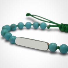 Bracelet Maracas perles (or blanc 750° et turquoise)