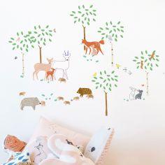 Stickers Balade en forêt (70 x 70 cm)