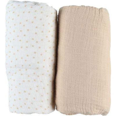 Lot de 2 draps housses en mousseline de coton beige (70 x 140 cm)  par Noukie's
