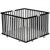 Parc bébé pliable à plancher Gaby en bois massif laqué noir (92 x 98 cm) - Combelle
