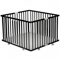 Parc bébé pliable à plancher Gaby en bois massif laqué noir (92 x 98 cm)