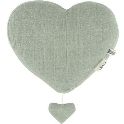 Coeur musical à suspendre Bliss vert olive  par Les Rêves d'Anaïs