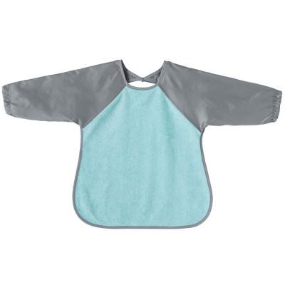 Bavoir tablier à manches aqua et gris  par Babycalin