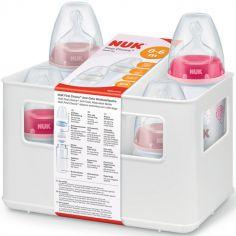 Coffret de naissance casier et 4 biberons roses (150 et 300 ml)