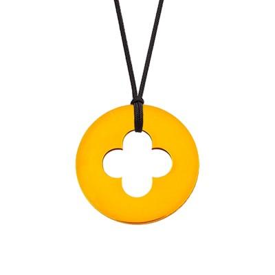 Collier cordon médaille Signes Croix Romane 16 mm (or jaune 750°) Maison La Couronne