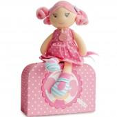 Poupée en tissu Les demoiselles brin de folie avec valisette Rose bonbon (28 cm) - Doudou et Compagnie