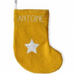 Chaussette de Noël jaune moutarde étoile (personnalisable)
