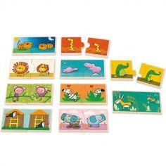 Lot de 10 petits puzzles Contraires Léo le roi de la jungle (2 pièces)