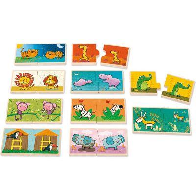Lot de 10 petits puzzles Contraires Léo le roi de la jungle (2 pièces) Goula