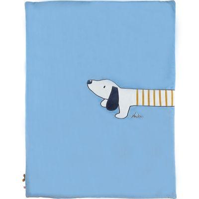 Couverture en veloudoux Aston & Jack chien bleue (75 x 100 cm)  par Noukie's