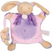 Doudou marionnette lapin mauve (24 cm) - Doudou et Compagnie