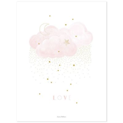 Affiche Stardust Sweet Love rose (30 x 40 cm)  par Lilipinso