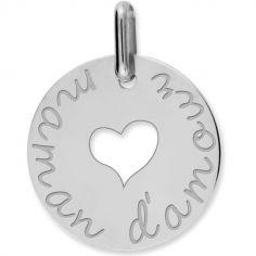 Médaille maman d'amour coeur ajouré personnalisable (or blanc 750°)