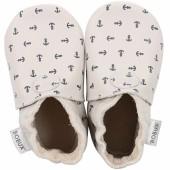 Chaussons bébé en cuir Soft soles Ancre écru (9-15 mois) - Bobux