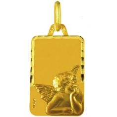 Médaille rectangulaire Ange de Raphaël 18 x 12 mm facettée (or jaune 750°)