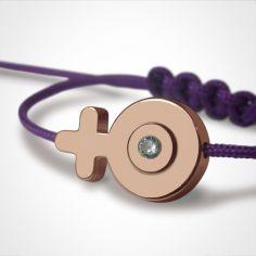 Bracelet cordon SexSymbol fille pierre précieuse ou fine (or rose 750°)