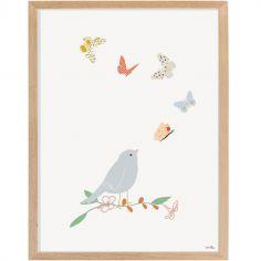 Affiche encadrée Oiseau et papillon (30 x 40 cm)