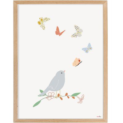 Affiche encadrée Oiseau et papillon (30 x 40 cm)  par Mimi'lou