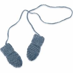 Moufles Emile tricotées main bleu pétrole (12-24 mois : 74 à 86 cm)