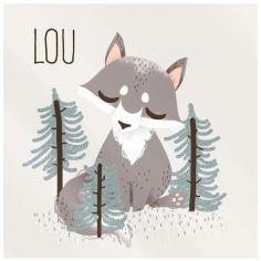 Plaque de porte carrée Les Animignons Le loup (personnalisable)