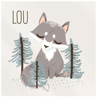 Plaque de porte carrée Les Animignons Le loup (personnalisable)  par Kanzilue