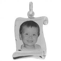 Pendentif parchemin avec photogravure 1 visage (argent 925°)