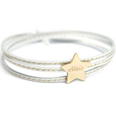 Bracelet cuir Amazone étoile (plaqué or)  par Petits trésors