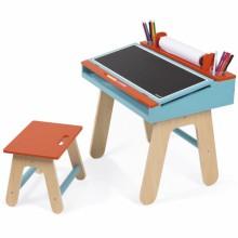Table à dessin orange et bleu et son tabouret  par Janod