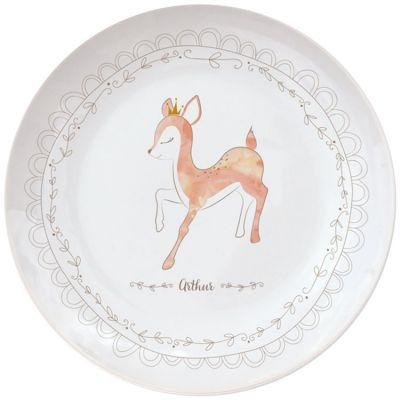 Assiette en porcelaine Faon (personnalisable)  par Gaëlle Duval