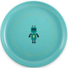 Assiette plate robot bleue