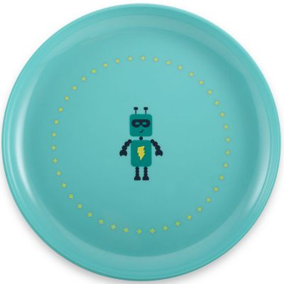 Assiette plate robot bleue  par Super Petit