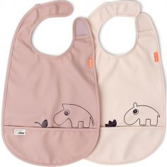 Lot de 2 bavoirs imperméable à velcro Deer Friends rose